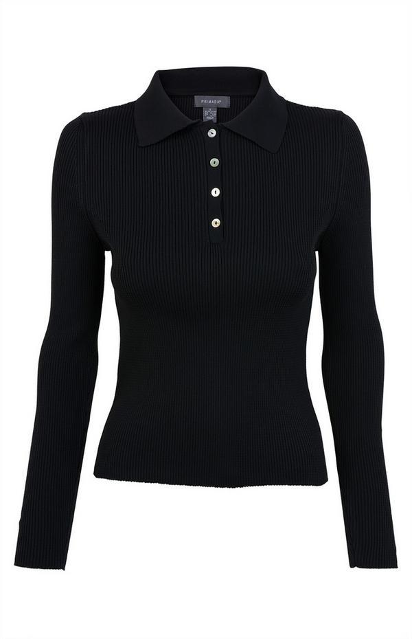 Camisola gola alta tecido compacto preto