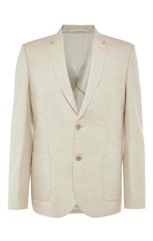 Ecrufarbene Premium-Anzugjacke aus Baumwolle und Leinen