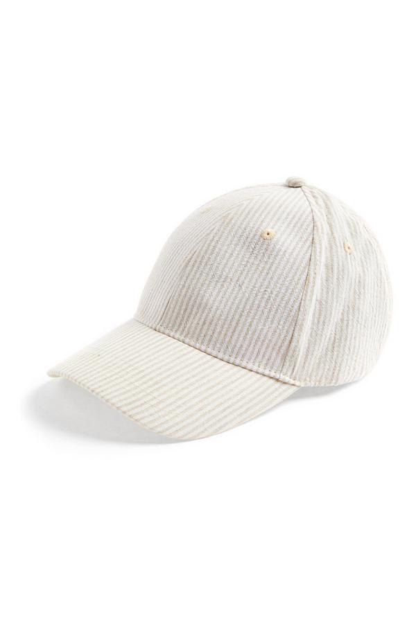 Boné beisebol Seersucker premium branco