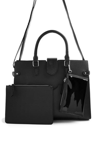 Black Removable Pouch Tote Bag