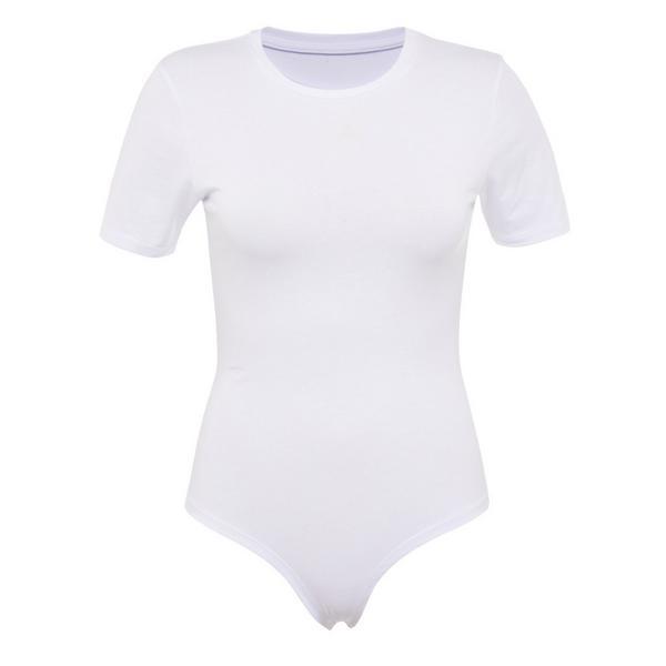 Body t-shirt blanc à col rond