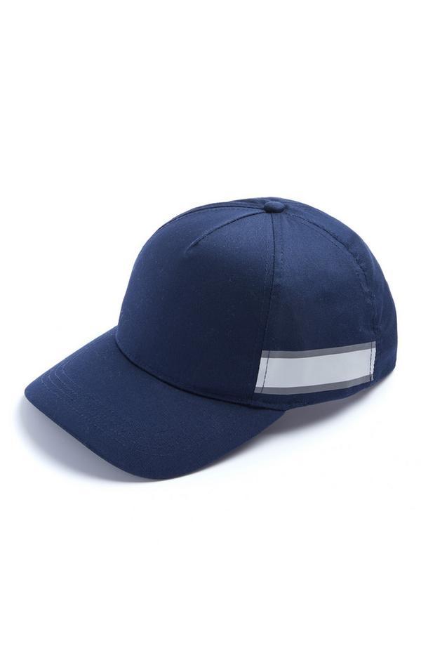 Donkerblauwe baseballpet met streep