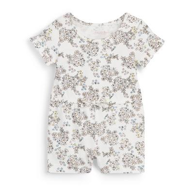 Baby Girl Ivory Floral Print Jersey Playsuit