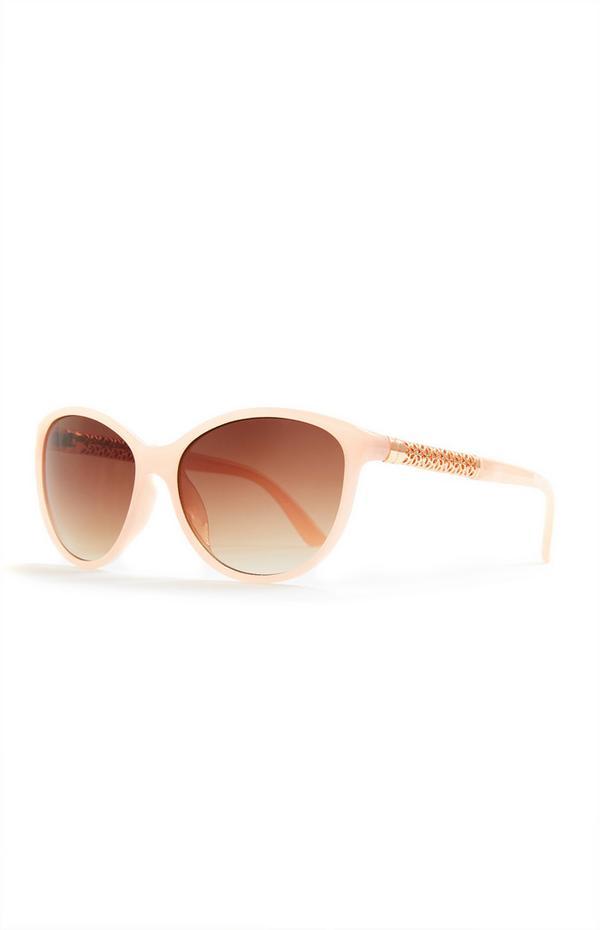 Rožnata okrogla sončna očala s kovinsko ročko