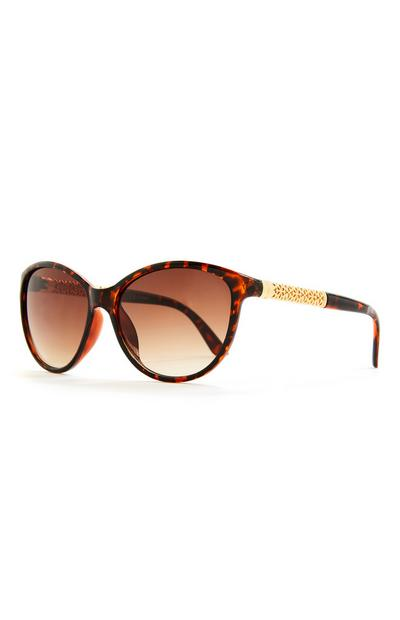 Faux Tortoiseshell Round Metal Arm Sunglasses