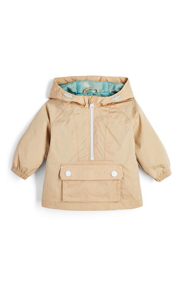Baby Boy Stone Hooded Zip Jacket