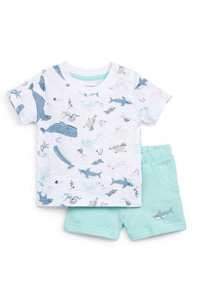 Baby Boy Blue Jersey Sea Print T-Shirt And Shorts Set