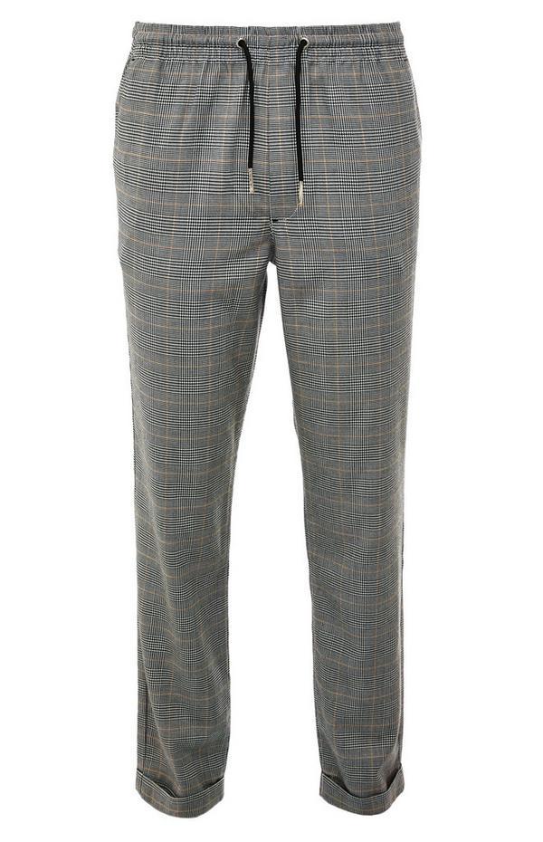 Sive kariraste hlače z elastičnim pasom