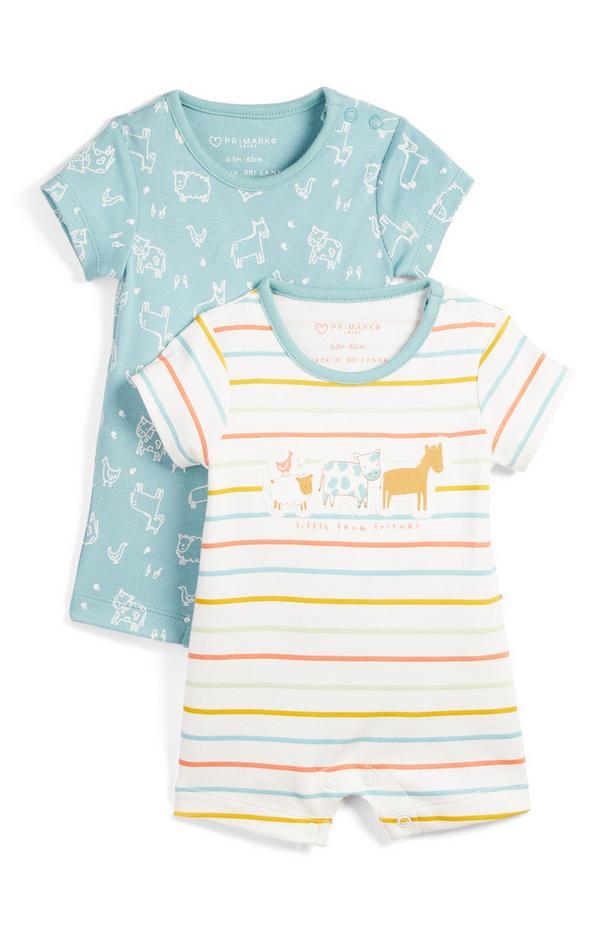Newborn Baby Pattern Short Leg Romper 2 Pack