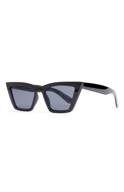 Black Chunky Stretched Cat Eye Sunglassess