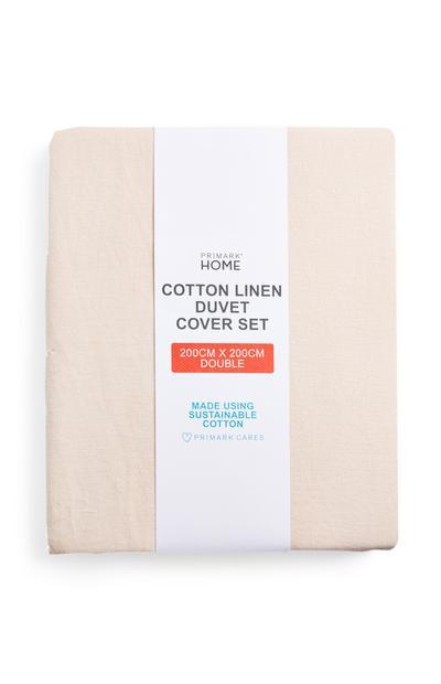 Blassrosa Bettwäscheset aus Baumwoll-Leinen, Doppelbett
