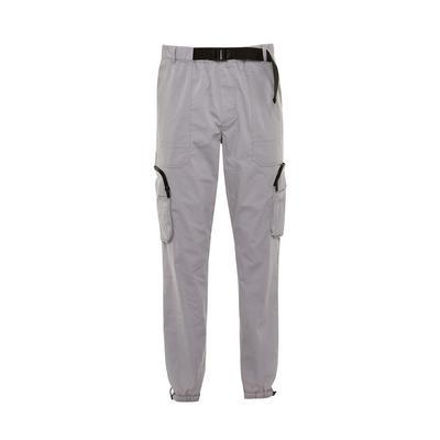 Pantalon cargo gris en nylon stretch