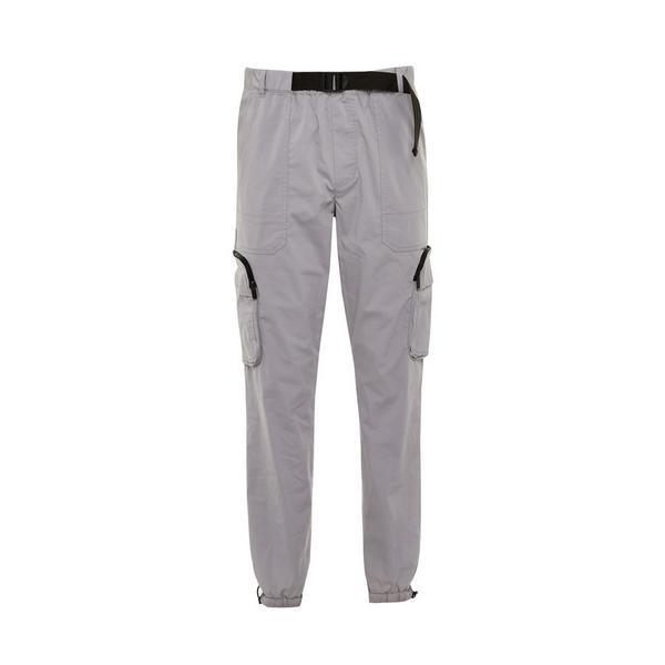 Pantaloni cargo grigi in nylon elasticizzati