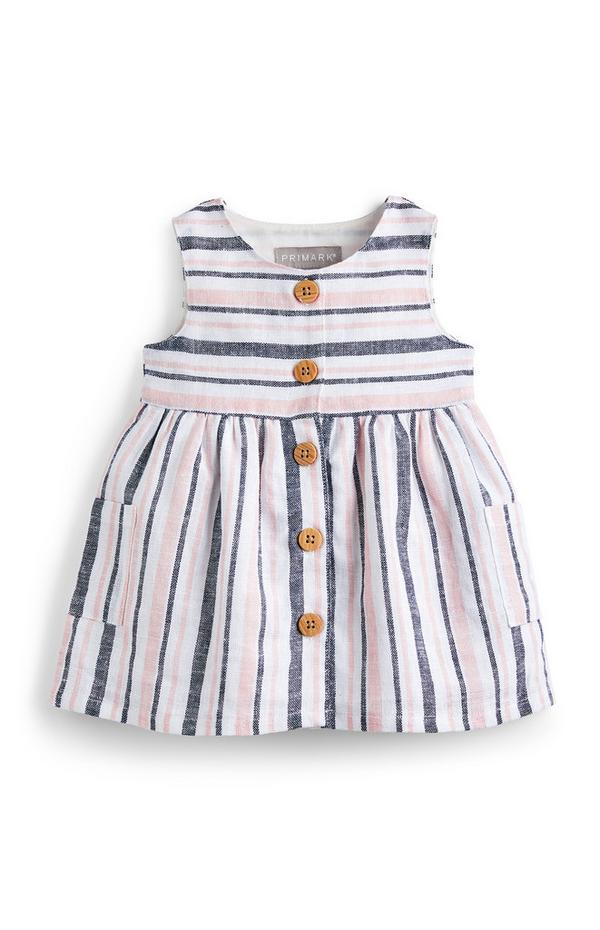 Baby Girl Striped Linen Button Detail Dress
