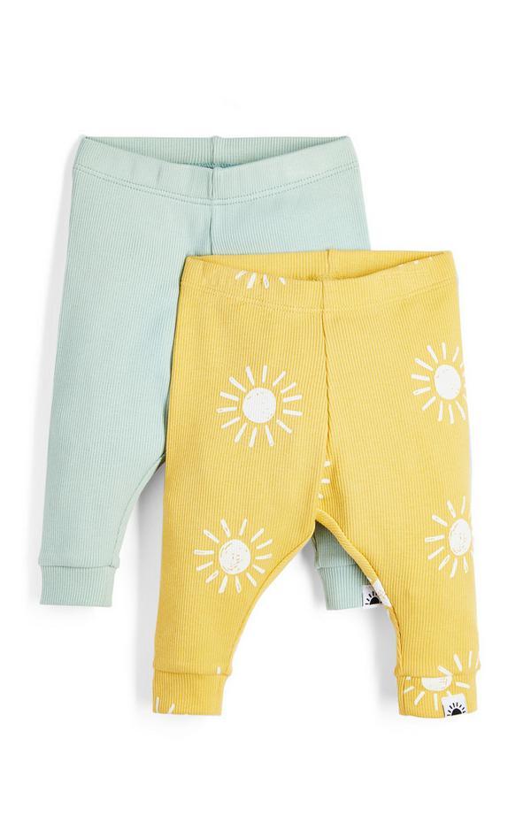 Groene en gele legging van ribstof voor baby (jongen), set van 2