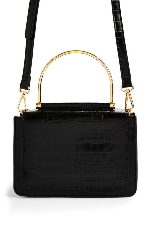 Zwarte schoudertas met metalen handvat