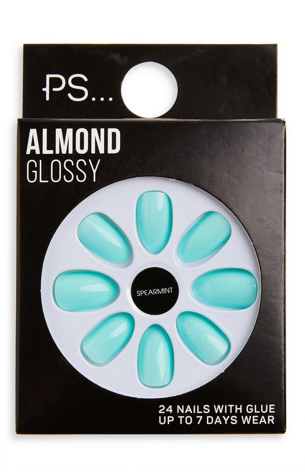 Ps Almond Glossy Spearmint-kunstnagels