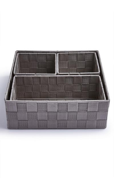 Grey Woven Baskets 4 Pack
