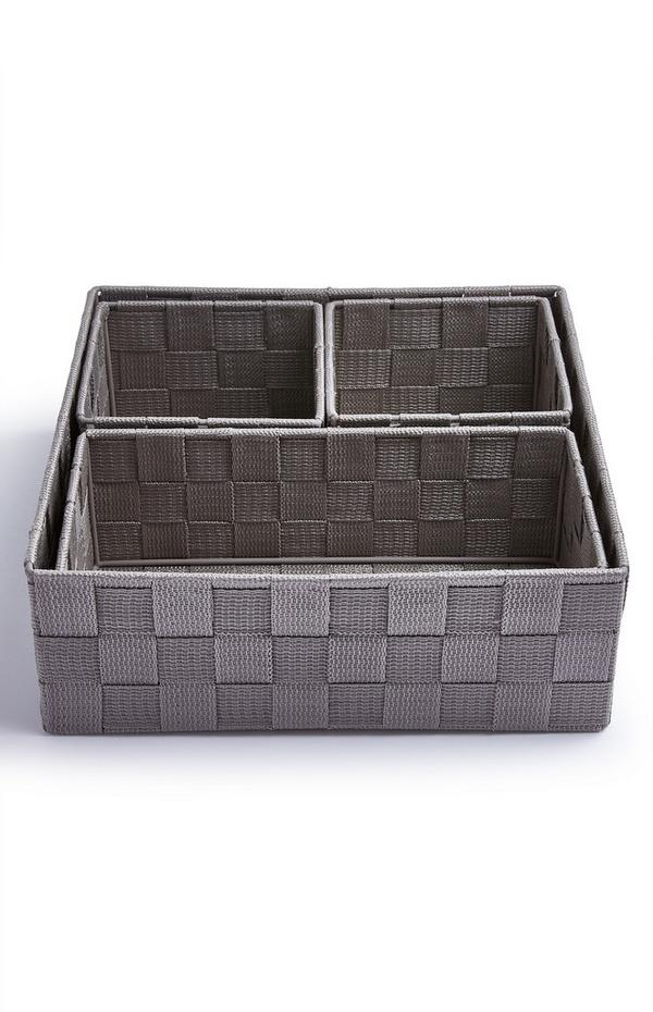 4-Pack Gray Woven Baskets