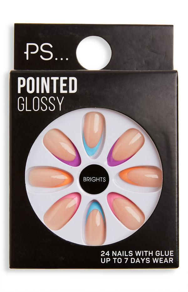 Ps Brights Pointed Gloss Neon Tip False Nails