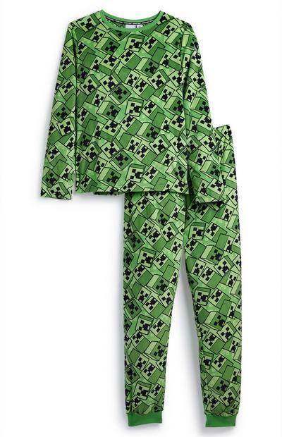 "Grünes ""Minecraft"" Pyjamaset (Teeny Boys)"