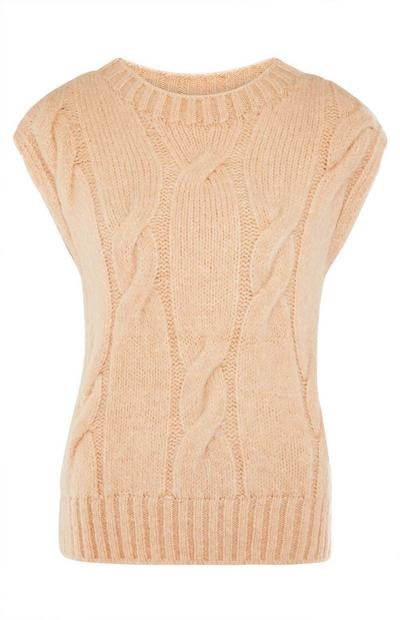 Beige Cable Knit Crew Neck Sleeveless Jumper