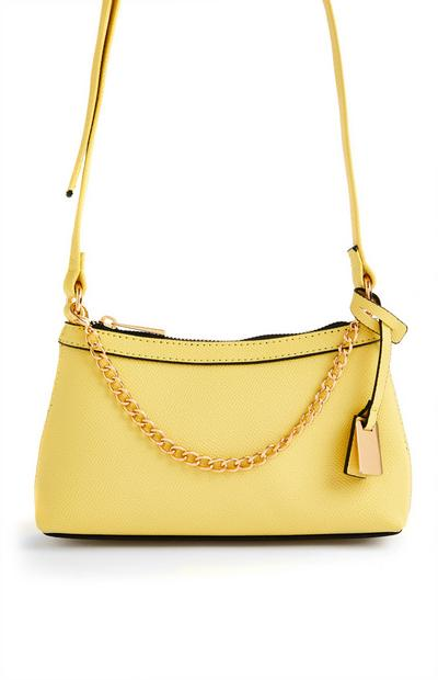 Yellow Goldtone Chain Front Mini Crossbody Bag