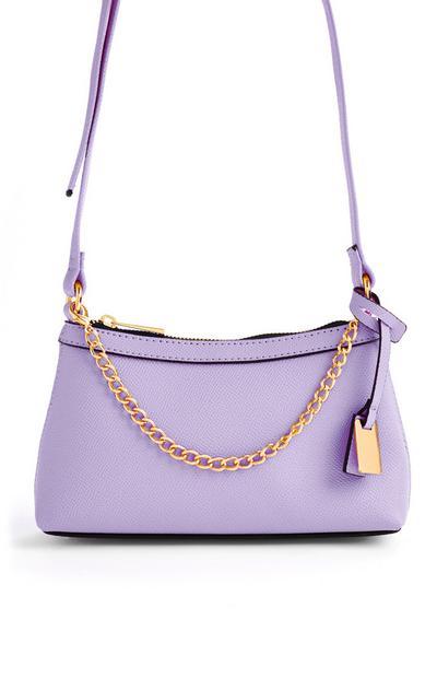 Mini sac à bandoulière lilas avec chaîne dorée sur le devant