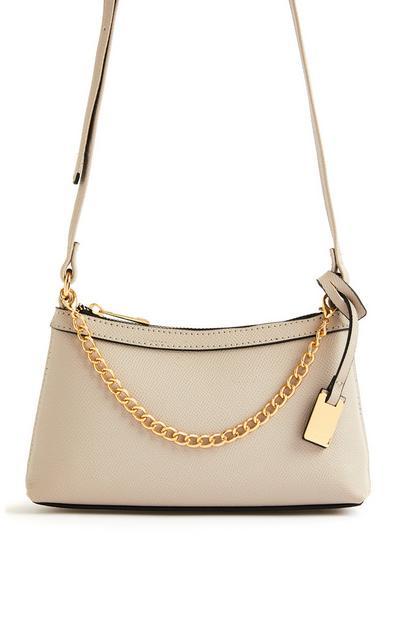Mini sac à bandoulière beige avec chaîne sur le devant