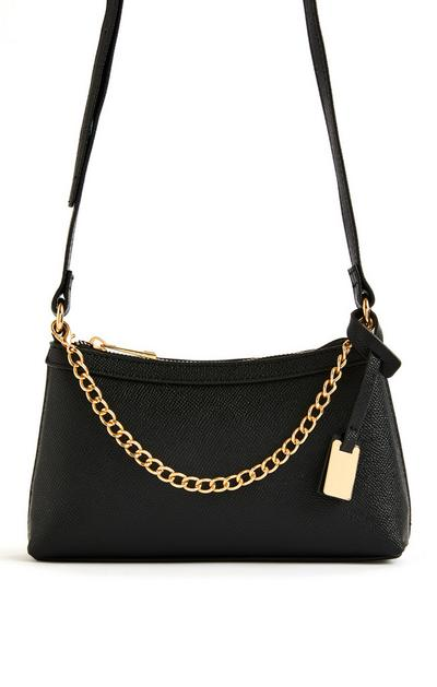 Black Chain Front Mini Crossbody Bag