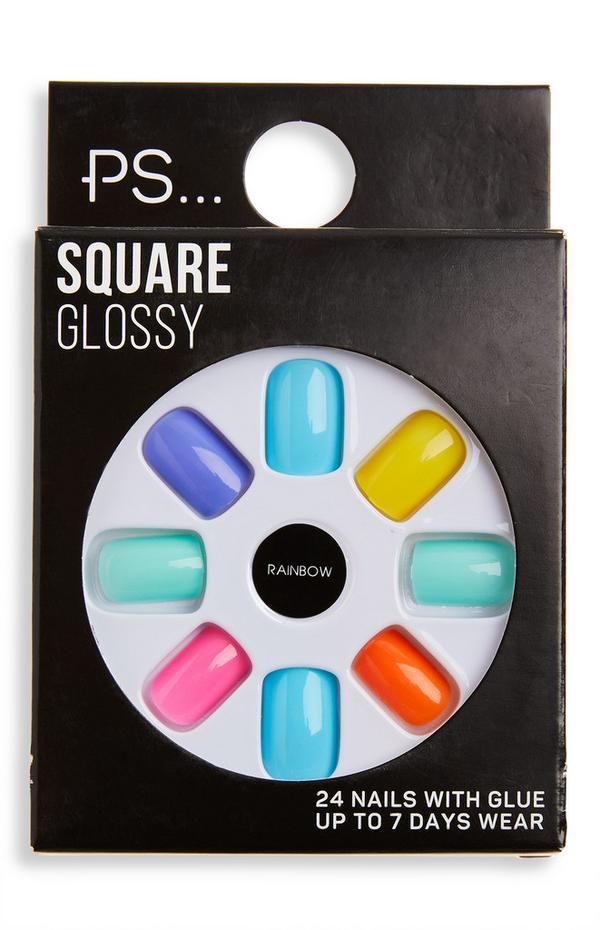 Ps Rainbow Square Glossy False Nails