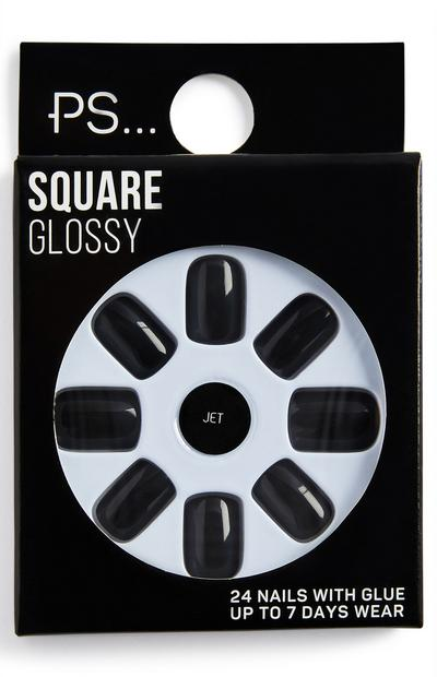 Ps Jet Square Glossy False Nails