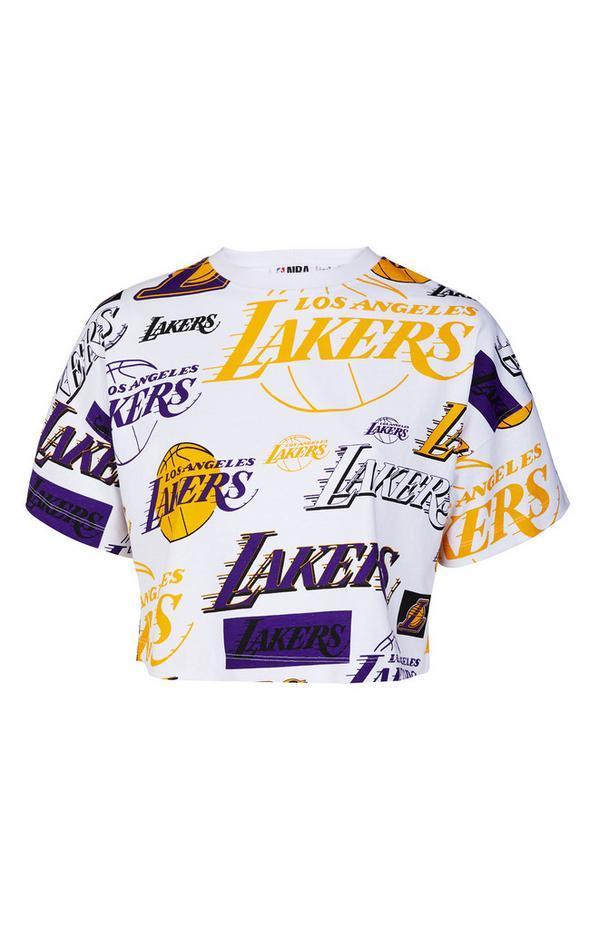 White Print NBA LA Lakers Cropped T-Shirt