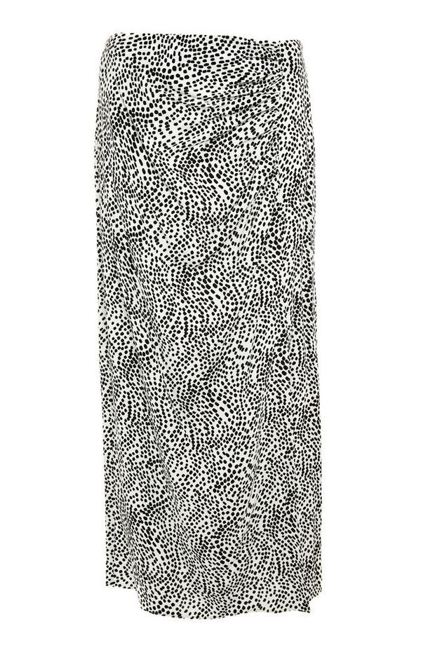 Jupe mi-longue noire et blanche à motifs et fronces sur le devant