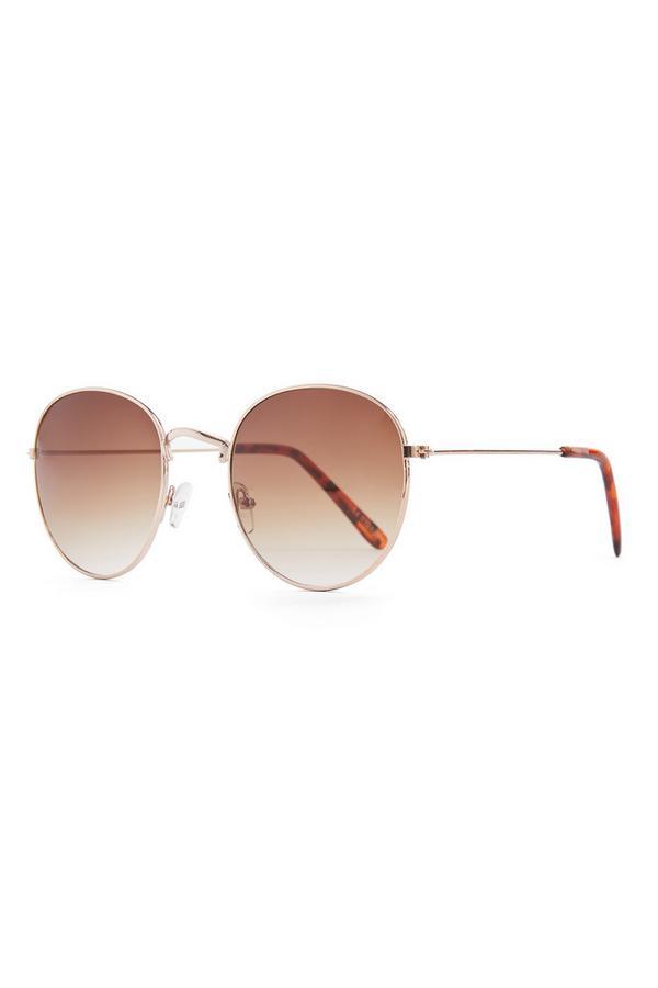 Ronde bruingemêleerde zonnebril met metalen montuur