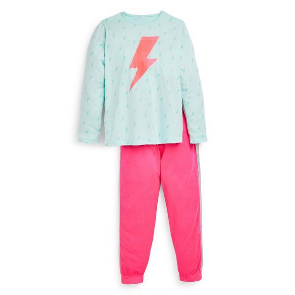 Older Girl Pink Lightening Bolt Pyjamas Set