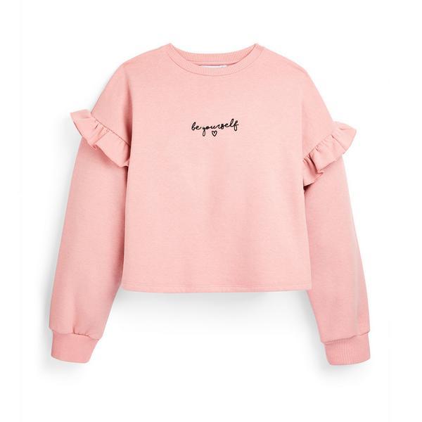 Camisola gola redonda folhos slogan rapariga cor-de-rosa