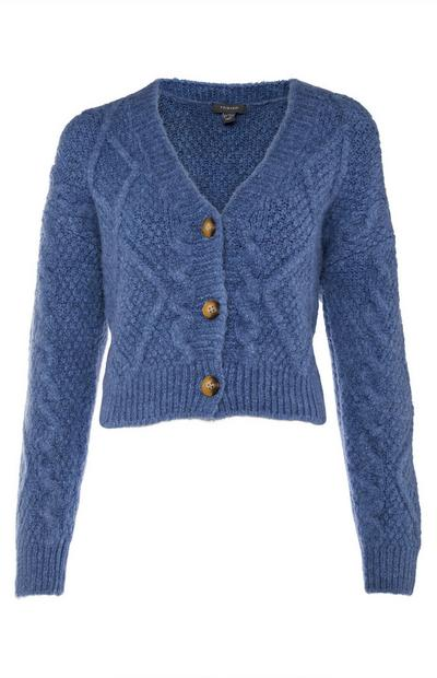 Navy Cable Knit Bradigan Cardigan