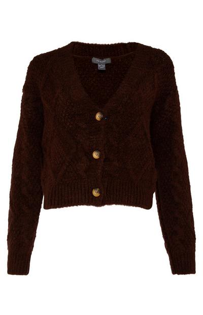 Maroon Cable Knit Bradigan Cardigan