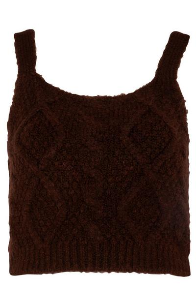 Maroon Cable Knit Bralet