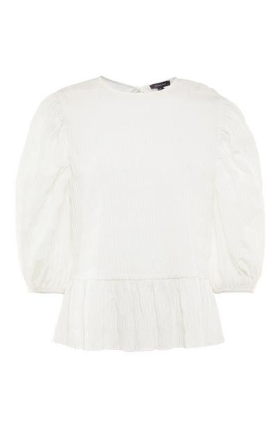 White Textured Peplum Blouse