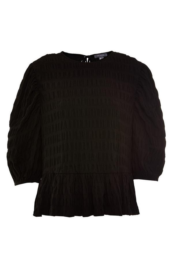 Schwarze, strukturierte Bluse mit Schößchen