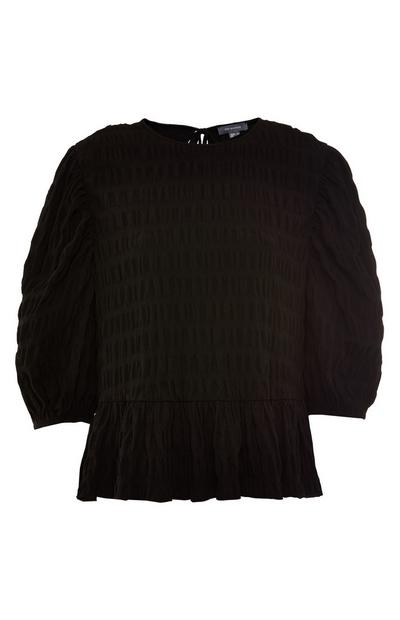 Black Textured Peplum Blouse