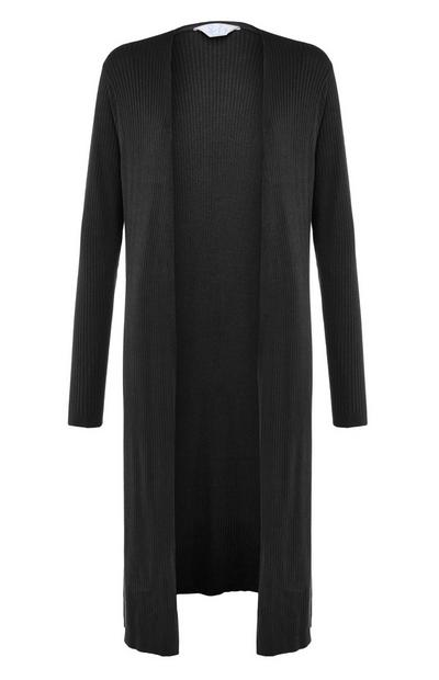 Black Ribbed Long Cardigan