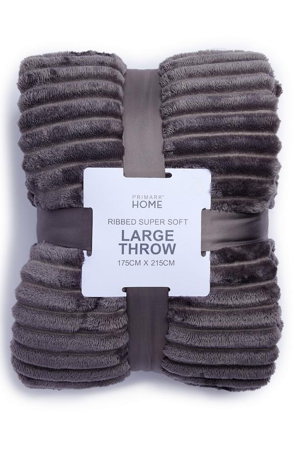 Grey Supersoft Ribbed Throw