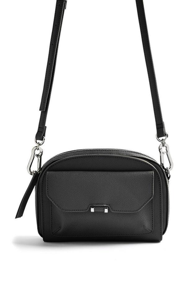 Črna torbica za fotoaparat z žepom spredaj