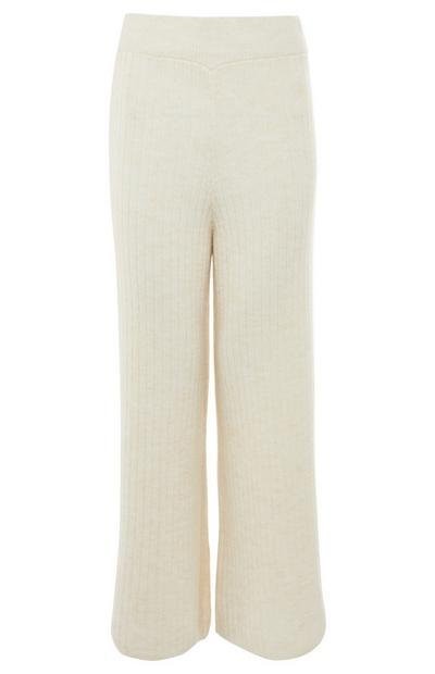 Cream Ribbed Knit Trousers