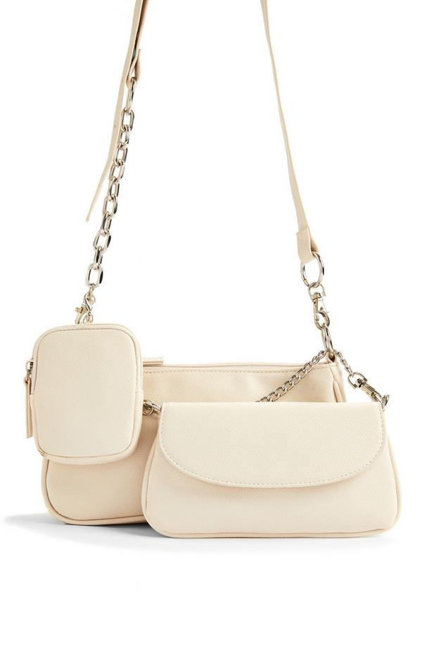 Cream Faux PU Leather Curved 3-In-1 Crossbody Bag