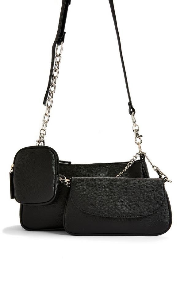 Black Faux PU Leather Curved 3-In-1 Crossbody Bag
