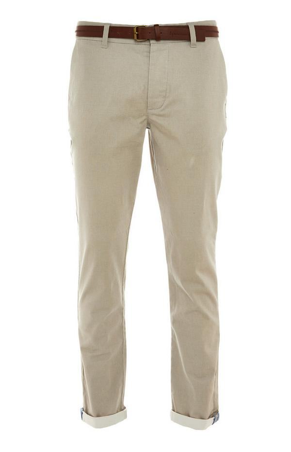 Stone Belted Chino Trousers